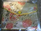Chinese Silk Look Popper Purse with zip Gold floral