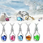 Women Heart Crystal Rhinestone Silver Chain Pendant Necklace Jewelry Love Gift