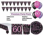Pink Sparkling 60th Birthday 8-48 Guest Premium Party Pack Tableware Decorations