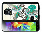 PERSONALIZED RUBBER CASE FOR SAMSUNG NOTE 3 4 5 7 WHITE TEAL HUMMING BIRDS