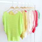 Fashion Women Batwing Sleeve Hollow Out Pullover Knitted Tops Blouse Gift