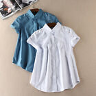 New Women's Single-breasted Short-sleeved Shirt Splice Simple Tops Blouses