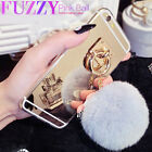New Unique Mirror Fluffy Rabbit Fur Ball Metal Ring Case Cover For iPhone 7 Plus