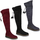 WOMENS LADIES OVER THE KNEE THIGH HIGH BOOTS LACE UP WEDGE PLATFORM SHOES SIZE