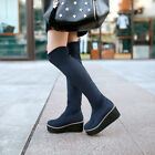 Womens Knee High Boots Pull on Creeper Wedge Heel Faux Suede Riding Shoes Plus