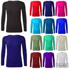 Womens PLUS SIZE Long Sleeve Stretch Plain Round Scoop Neck T Shirt Top Basic