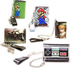 Nintendo Super Mario Zelda Tri Fold Chain Wallet New & Official With Coin Pocket