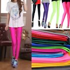 Colorful Slim Cut Shiny Neon Bright Glow Metallic Stretch Leggings AU