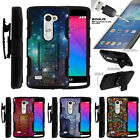 For LG Leon | LG Sunset | Tribute 2 | Holster Clip Stand Case Galaxy with Specs