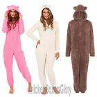 Womens/Ladies Hooded Snuggle Fleece Onesie All In One Cream/Pink Size 6 - 18