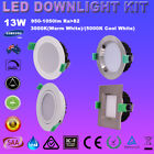 13W ROUND SQUARE LED DOWNLIGHT KIT DIMMABLE 90MM CUTOUT WHITE/ SATIN CHROME