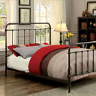 Iria Contemporary Vintage Style Rustic Dark Bronze Finish Bed Frame Set