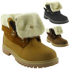 WOMENS LADIES LACE UP LOW CUBAN HEEL GRIP SOLE ANKLE FUR LINING BOOTS SHOES SIZE