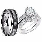 His Black Titanium Hers Sterling Silver 2.28Cttw Matching Wedding Ring Band Set