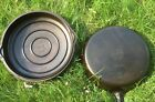 Griswold Erie #10 716 B Cast Iron Skillet w matching #10 1100 A lid Flat 10