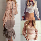 Woman Crewneck Lace Sexy Fashion Top Blouse Jumpers Pullover Tee T-Shirts
