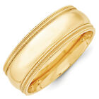14K Yellow Gold 8mm Double Milgrain Wedding Band Comfort Fit Ring Sizes 4 - 14