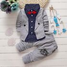 2pcs Toddler Boys Kids Baby Shirt Tops+Long Pants Clothes Outfits Gentleman Sets