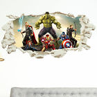 Avengers in Wall Crack Kids Boy Bedroom Decal Art Sticker Gift Superheroes New