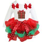 Baby Red Green Petal Tutu & Xmas Gift White Long Sleeve Tee Dress Outfit