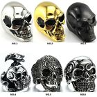C 316L Stainless steel steam men punk ring gothic rings cool skull Men's Jewelry