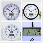 Analog Wall Clock with Digital Time Display Calendar Temperature Home and Office