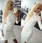 Autumn Winter White Women Fashion Casual Long Sleeve Party Sweater Dresses New