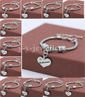 Charm Crystal Love Heart Vintage Bracelets Bangles For Family Friends X'mas Gift