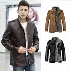 Fashion Men Winter PU Leather Jacket Thick Warm Coat Outwear Overcoat Parka Tops