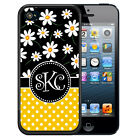 MONOGRAMMED RUBBER CASE FOR iPHONE 5S 5C SE 6 6S 7 PLUS BLACK DAISY YELLOW DOTS