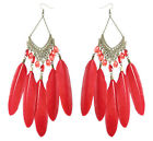 JF190 wholesale lots Feather chandelier earrings tear drop bead U pick quantity