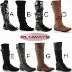 Winter Biker Riding Style Knee Low Heel Thigh High Over Knee Boots Size 3-8 New