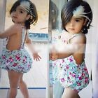New Infant Baby Girls Lace Floral Romper Butterfly Shorts Jumpsuit+Headwear