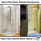 Pivot Shower Door Screen Enclosure, Glass Side Panel & Stone Tray Options