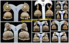 Choose White Rhinestone Pearl Gold Bollywood Big Punjabi Jhumka Earring-4-Diwali