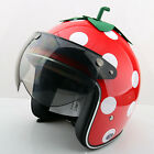 F#86 Racing Cycling Scooter Casco Motorcycle Red Strawberry Helmet &W Lens Adult