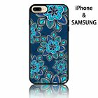 Floral soft rubber gel Phone Case with pretty nice light blue and white flowers