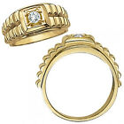 0.50 Carat G-H Diamond Fancy Solitaire Nugget Mans Promise Ring 14K Yellow Gold