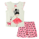 Pyjamas Baby Girls Summer Short 2 pc Pjs Set (sz 0-2) White Girl with Cat Sz 0 1