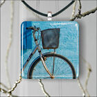 BICYCLE ON BLUE WALL DESIGN PENDANTS NECKLACE MEDIUM OR LARGE -gvb6X