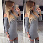 New Womens Bodycon Cold Shoulder Dress Ladies Party Evening Mini Dress Size S-XL