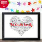 Personalised Family Gift Family Word Art Print Keepsake Our Family New Home Gift