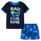 Pyjamas Baby Boys Summer Pjs Set (Sz 0-2) Navy Cool Fish Bad to the Bone Size 0