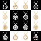 Women Silver Rope Chain Hollow Flower Heart Shape Love Pendant Necklace Jewelry