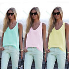 Women Summer Sleeveless Shirt Blouse Casual Tank Tops T-Shirt Vest Tops AU