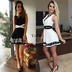 Stylish Women's Casual Cocktail Party Sleeveless Hollow Out Lace Mini Dress