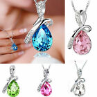Charm  Silver Plated Angel's Teardrop Crystal Pendant Necklaces Xmas Gift