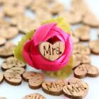 100X Wooden Heart Mr & Mrs Table Confetti Vintage Rustic Wedding Party Decor
