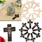 50Pcs JESUS Wooden Cross Beads Charm 40X24mm Wood Pendants Fit Necklace Jewelry