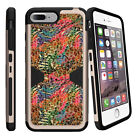 """For Apple iPhone 7 (4.7"""") Gold Case Clip Stand + Tempered Glass Tree Branch Camo"""